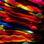 Colorful fabrics, Otavalo market, Otavalo, Ecuador