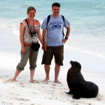 Rod, Christi, and an inquisitive sea lion, Española Island, Galápagos Islands, Ecuador