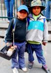 Shoe-shine girls, Quito, Ecuador