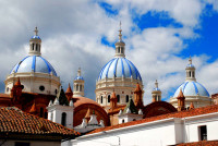 Three domes of the Cathedral of the Immaculate Conception, Cuenca, Ecuador
