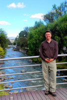 Rod and the river Tomebamba, Cuenca, Ecuador