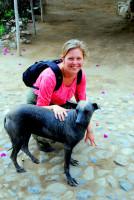 Christi and a hairless dog, Trujillo, Peru