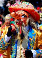 Conquistador characature, Cultural festival, Cusco, Peru