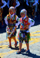 Children embracing their heritage, cultural festival, Cusco, Peru