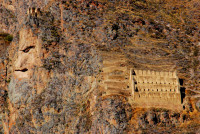 Granary carved into the side of a mountain, Ollantaytambo, Sacred Valley, Peru