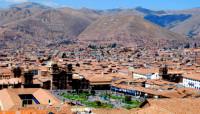 Graffiti-strewn hills around Cusco, Peru