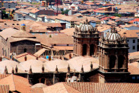 Roof top view of Santo Domingo cathedral, Cusco, Peru
