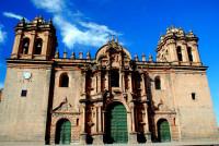 Santo Domingo cathedral facade, Cusco, Peru