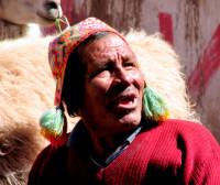 Quechua man lacks teeth but not llamas, Cusco, Peru