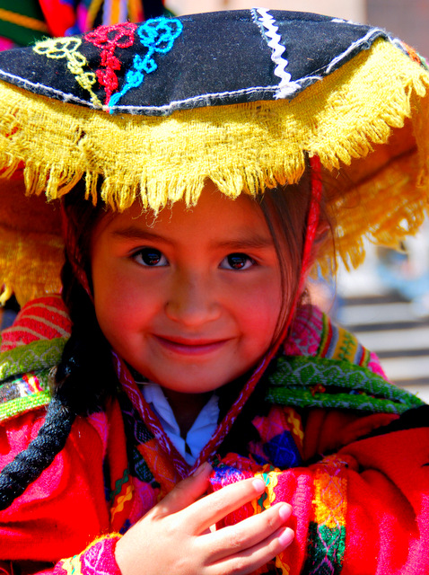 Traditionally dressed Quechua girl, Lima, Peru