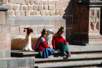 Indigenous Quechua women and their llamas, Cusco, Peru