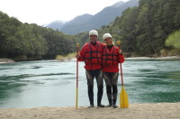 Before the adventure begins. White water rafting on the Rio Manso
