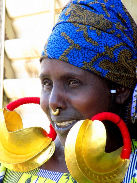 Fulani woman with large gold earrings, village of Senossa, Mali, Africa