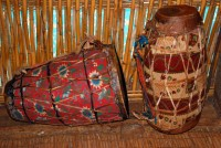 Prayer Drums, Ura Kidane Mehret church, Lake Tana, near Bahir Dar, Ethiopia, Africa