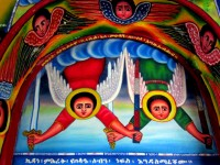 Fighting angels mural, Entos Eyesu Monastery, Lake Tana, Ethiopia, Africa