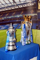 FA Cup and Premiership trophy, Stamford Bridge, London, UK